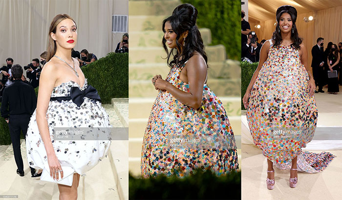 Eileen Gurr and Vanessa bryant bubble dresses met gala