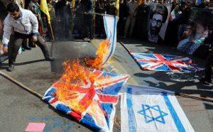ifmat - British flags set alight in Tehran in chaotic Iran parade2