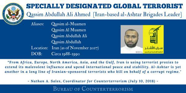 ifmat - State designates Iran-based Bahraini militant as terrorist