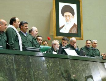ifmat - Iranian lawmakers wear guard uniforms as show of support for IRGC
