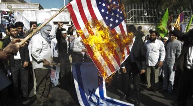 ifmat - Protesters in Iran burn Israel and US flags