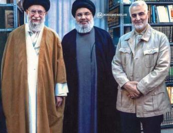 ifmat - Hezbollah leader photographed in Iran with Ayatollah Khamenei and Quds Forces commander