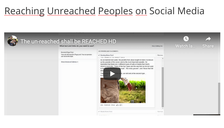 Reaching Unreached Peoples on Social Media