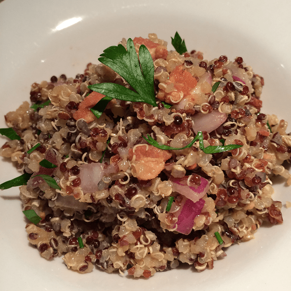 Red Quinoa and Bacon Salad with Balsamic Vinaigrette