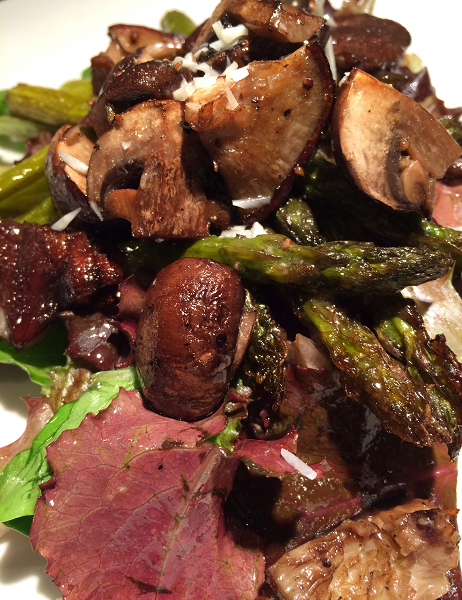 Wam Asparagus and Mushroom Salad with Champagne Shallot Vinaigrette