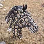 Horseshoe Horse Head Metal Sculpture Carvings I Forge Iron