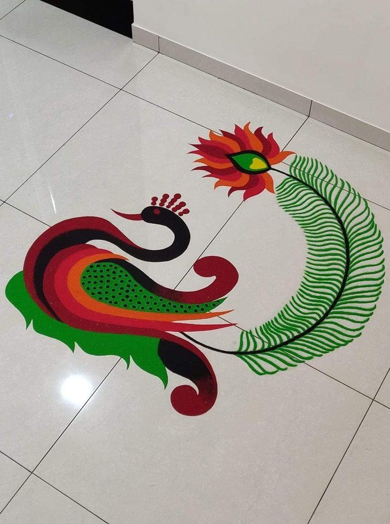 15 Beautiful Amp Colorful Peacock Kolam Amp Rangoli Designs