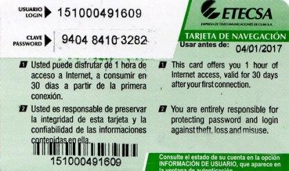 Tarjeta di Cuba per internet