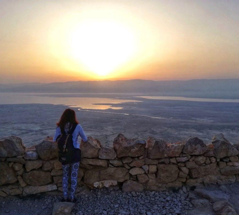 masada all'alba e panorama mar morto