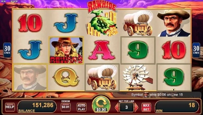 Play Rawhide slot machine features
