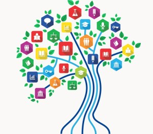 New media technology education and e-learning concept tree with back to school subjects icon set. EPS10 vector file organized in layers for easy editing.