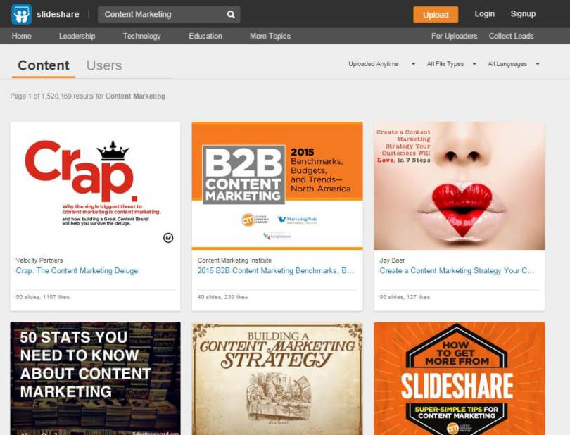 SlideShare Result Content Marketing
