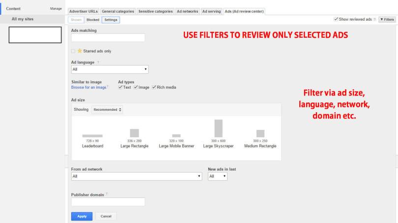 Filter in Ads Review center