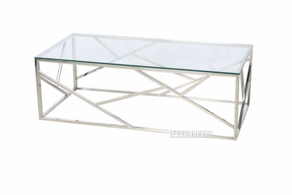 lella rectangle clear glass coffee table silver
