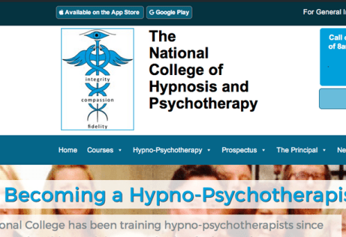 image for website design for The National College of Hypnosis and Psychotherapy