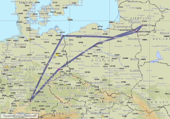 Die Route nach Litauen und zurück.