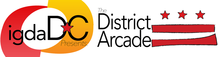 This is the IGDADC logo and the District Arcade logo. The Arcade logo has 3 stars and 2 stripes like the DC flag, but it looks hand drawn, as like, perhaps by a video game developer
