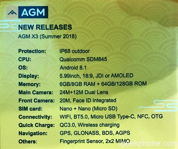AGM X3 Specs Sheet