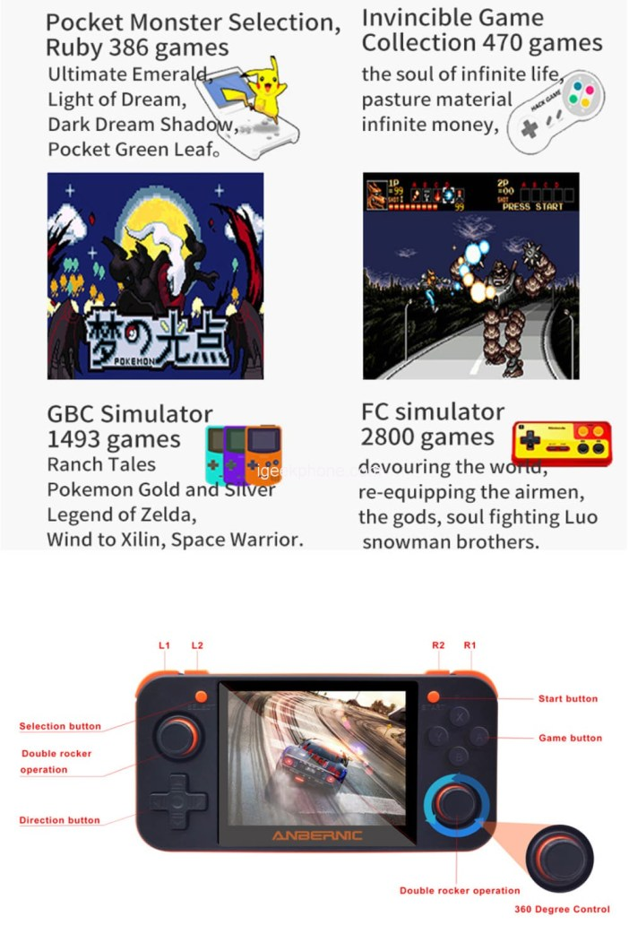 RG350 Open Source Game Console Handheld Features