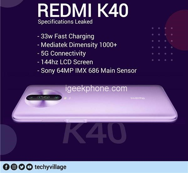 Redmi K40 Dimensity 1000+, 144Hz Screen and 33W Charge