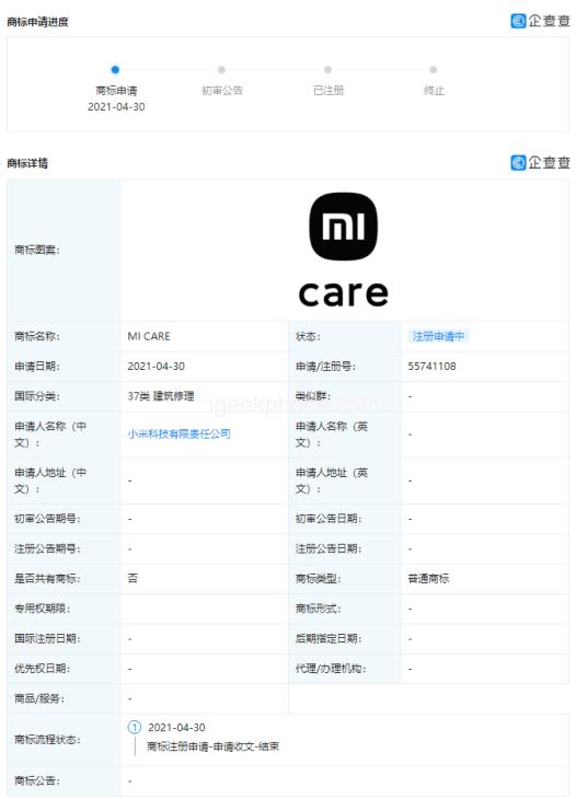Xiaomi MI CARE and CARE MI Trademarks