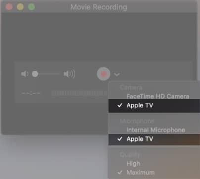 Выберите Apple TV с камер на Mac