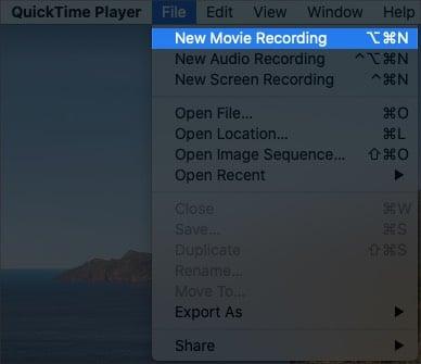 Выберите новую запись фильма в QuickTime Player на Mac