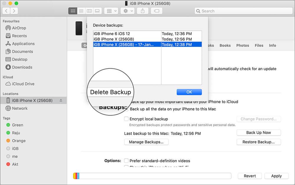 Удалить резервную копию iPhone на Mac Работает MacOS Catalina