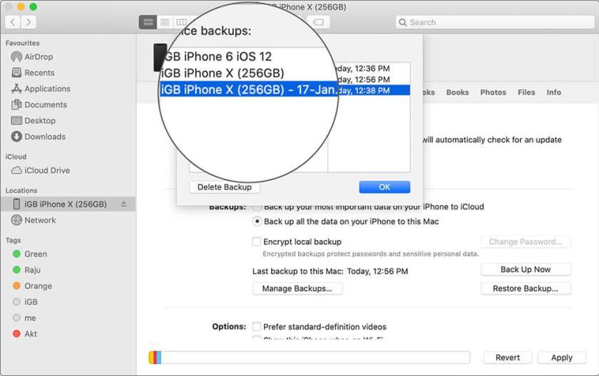 Выберите резервную копию iPhone в macOS Catalina