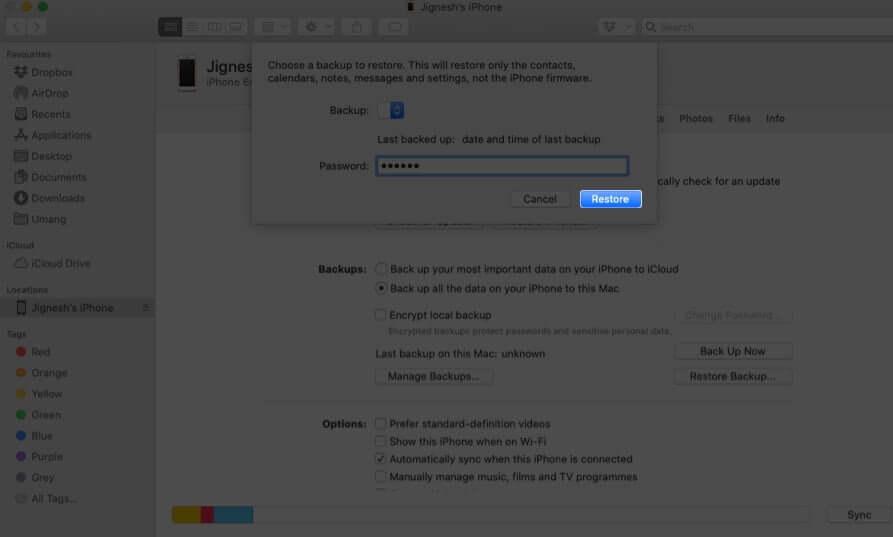 Введите пароль и нажмите «Восстановить» на Mac.