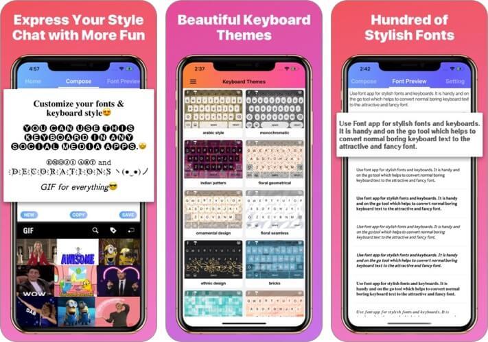 приложение для шрифтов - классные шрифты, клавиатура для iphone и ipad, скриншот приложения
