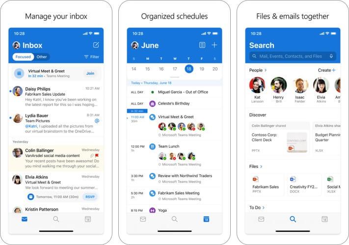 Снимок экрана приложения электронной почты microsoft outlook для iphone и ipad