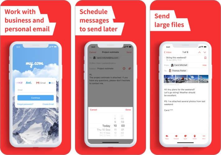 Скриншот приложения электронной почты mymail для iphone и ipad