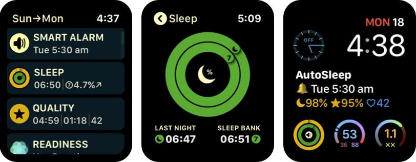 Скриншот приложения будильника Apple Watch с функцией автоматического сна