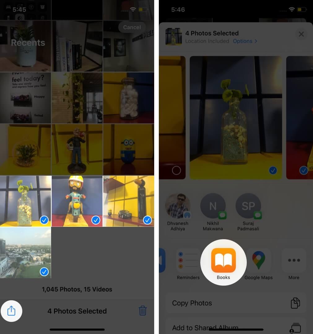 выберите фотографии, нажмите «Поделиться», а затем нажмите «Книги» на iphone