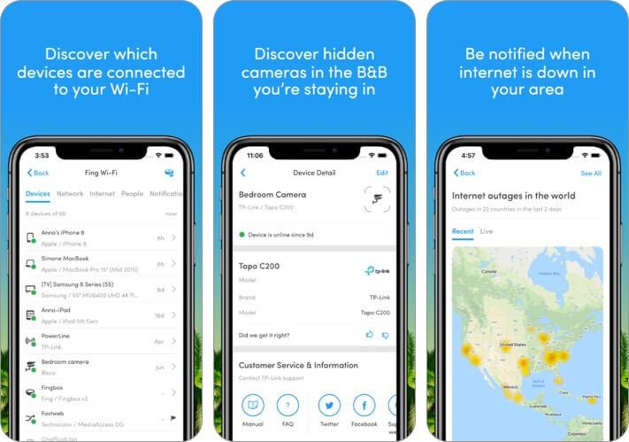 fing - сканер сети iPhone и iPad скриншот приложения анализатора Wi-Fi