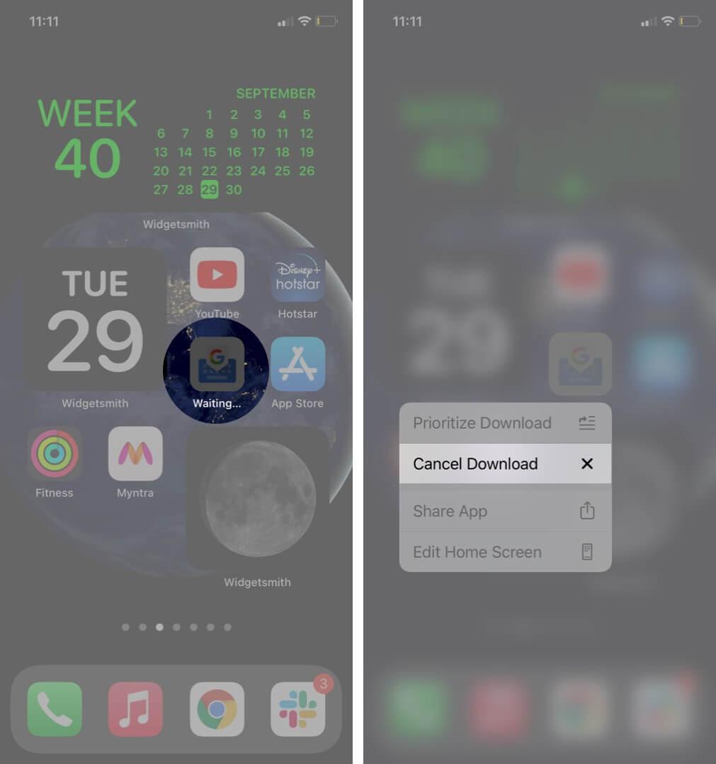 долгое нажатие на загрузку приложения и нажатие на отмену загрузки на iphone