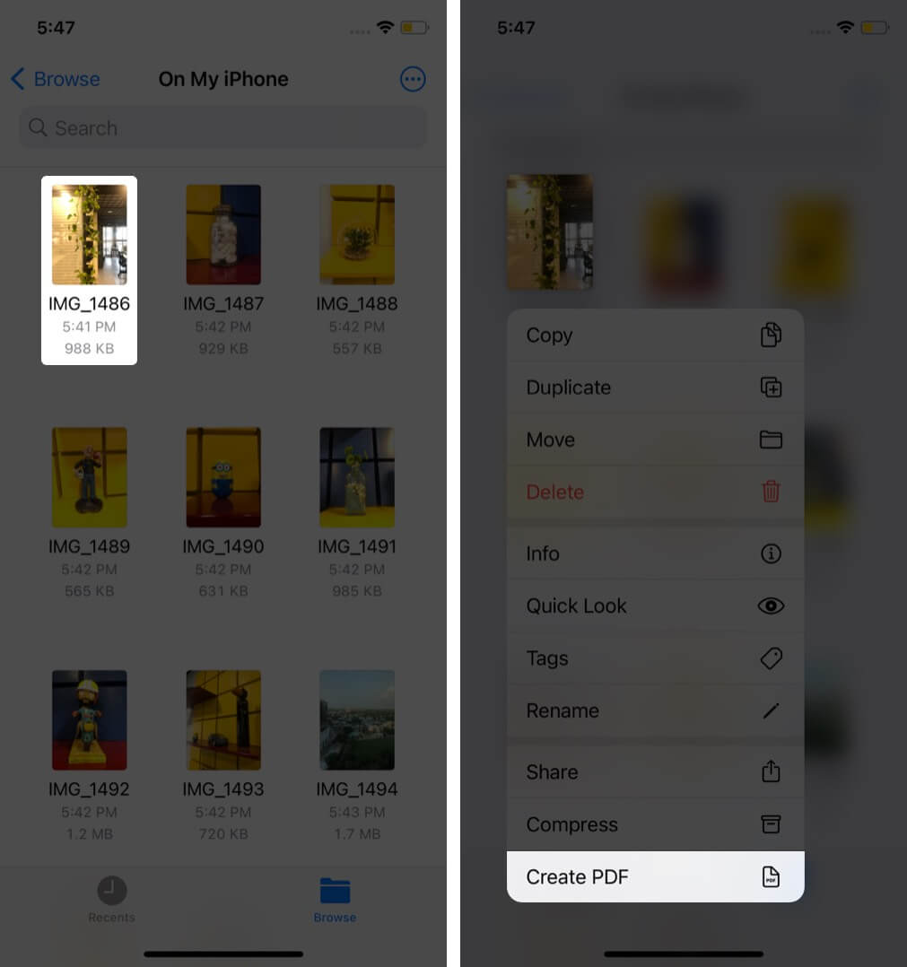 долгое нажатие на изображение и нажмите на создание PDF в приложении файлов на iphone