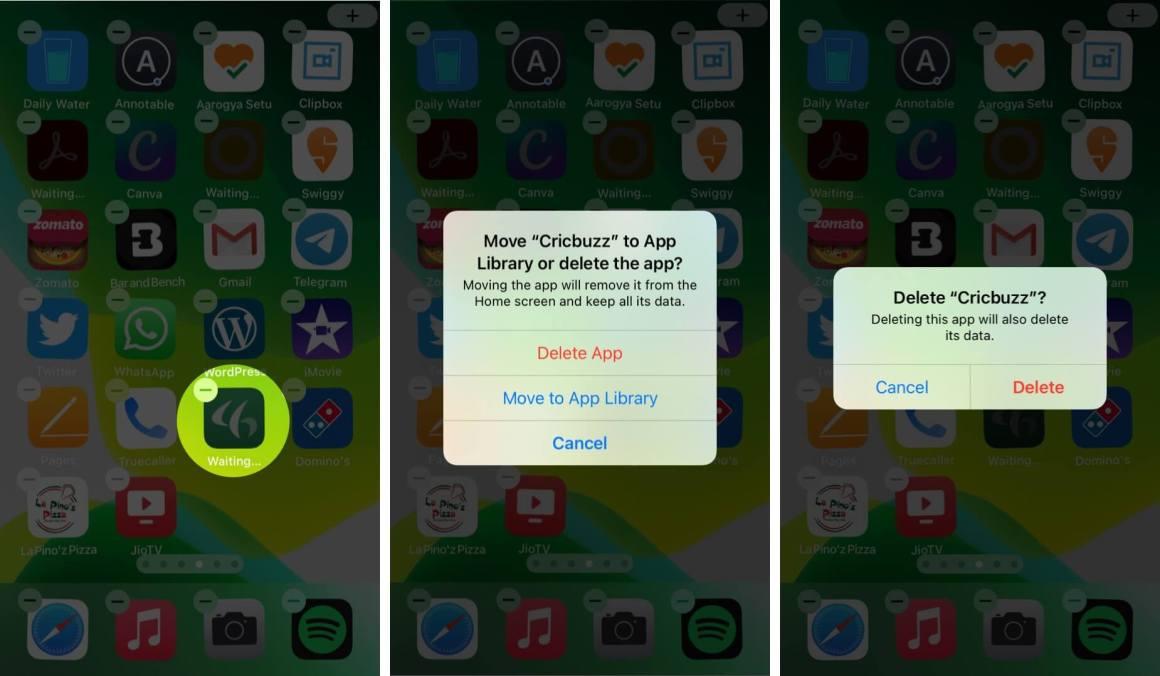 долгое нажатие на ожидающие приложения и нажатие на удаление на iphone