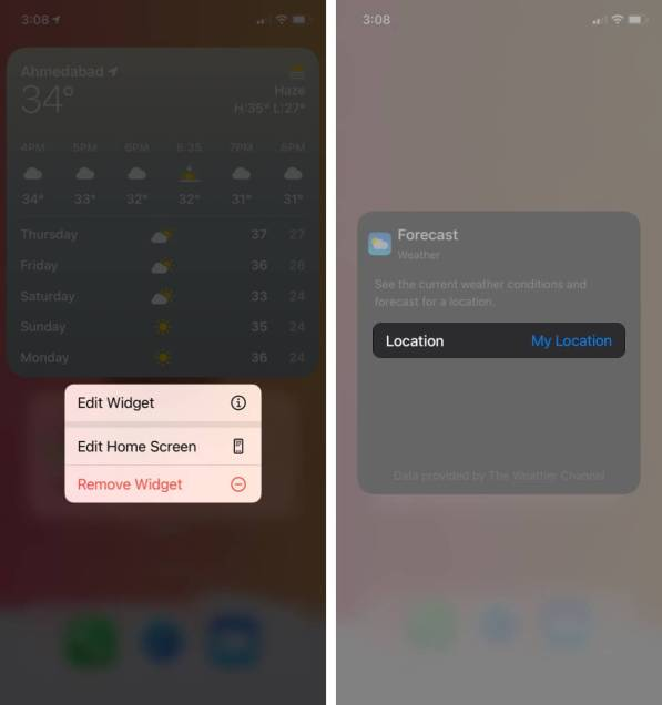 долгое нажатие на виджет коснитесь виджета редактирования, а затем коснитесь моего местоположения на iphone