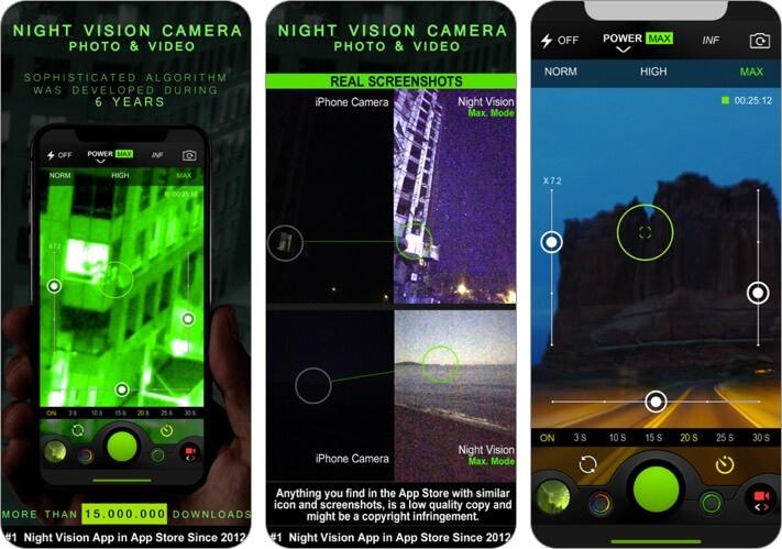 фото и видео ночного видения скриншот приложения для iphone и ipad