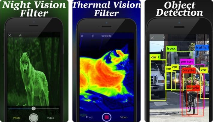 Скриншот приложения для iPhone и iPad с тепловизионной камерой ночного видения