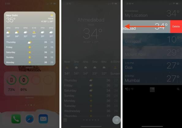 откройте приложение погоды, нажмите на значок стека, затем проведите пальцем по местоположению и нажмите «Удалить», чтобы удалить сохраненное местоположение на iphone