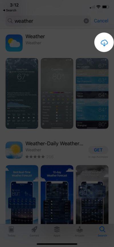 найдите приложение погоды в магазине приложений и нажмите на загрузку, чтобы установить приложение погоды на iphone