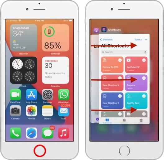 переключаться между приложениями на iphone с помощью кнопки домой