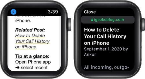 нажмите на ссылку, чтобы перейти на сайт на Apple Watch