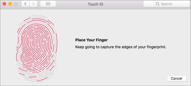 Добавление отпечатков пальцев на Mac Touch Id