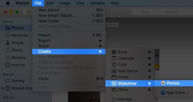 Нажмите «Файл», выберите «Создать слайд-шоу» и затем нажмите «Фотографии» на Mac.