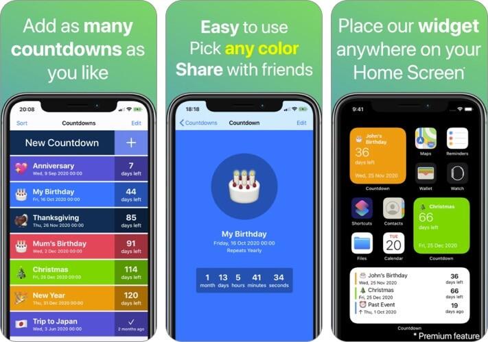 Скриншот приложения для iPhone и iPad обратного отсчета