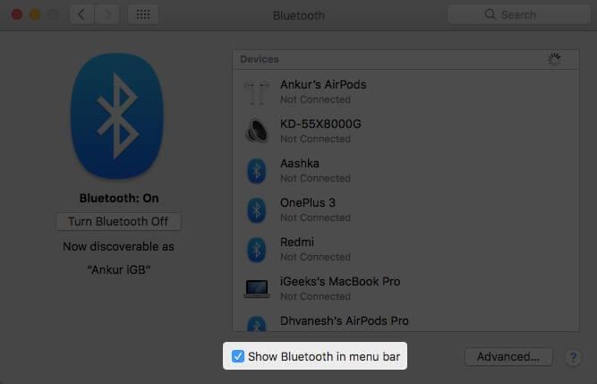 Включите отображение Bluetooth в строке меню в системных настройках на Mac